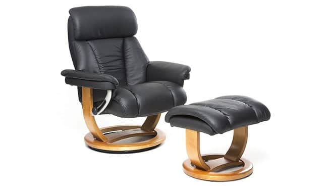 GFA Genuine Leather Recliner Swivel Chair Matching Footstool