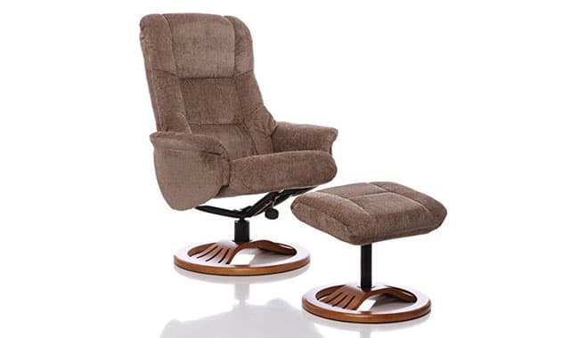 Oriental Leather Co Swivel Recliner Chair Matching Footstool