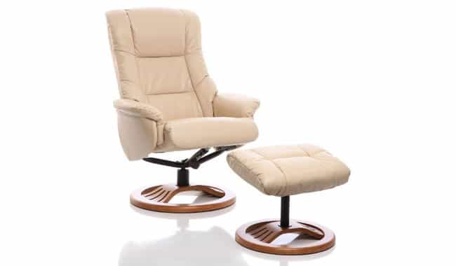 The Mandalay Bonded Leather Recliner Swivel Chair Matching Stool